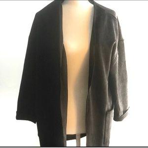 Joan Vass Cardigan Black Vegan Leather Open Front